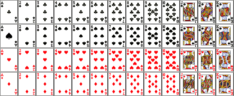 Pictures of the 52 playing cards